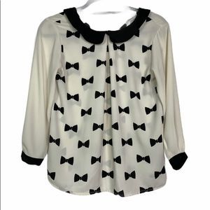 LAUREN CONRAD Cream with Black Bow Print Blouse